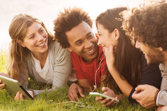Happy friends together outdoor Stock Photography