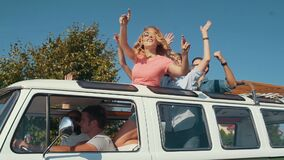 Happy Friends Traveling By Car, Having Fun In Summer.