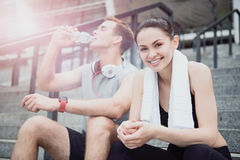 Happy friends waiting for their sport training royalty free stock photo