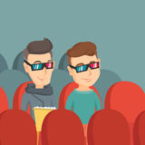 Happy friends watching 3D movie in the theatre. Royalty Free Stock Image
