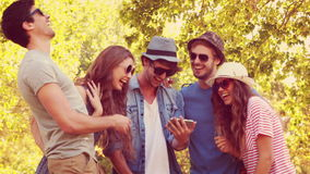 Happy friends watching photos on a smartphone in the park stock video footage