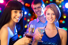 Happy friends wishing you Merry Christmas Stock Image