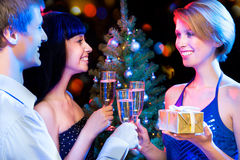 Happy friends wishing you Merry Christmas Royalty Free Stock Photography
