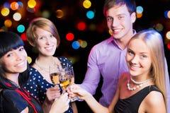 Happy friends wishing you Merry Christmas Stock Photo