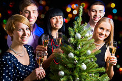 Happy friends wishing you Merry Christmas Royalty Free Stock Images