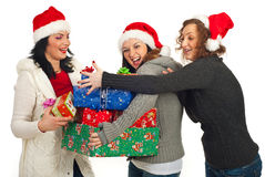 Happy friends women having fun with gifts Stock Images