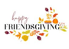 Happy Friendsgiving Graphic with Fall Elements