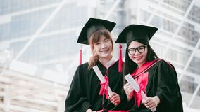 Happy friendship from college graduted royalty free stock photography