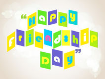 Happy Friendship Day background with colorful text Stock Image