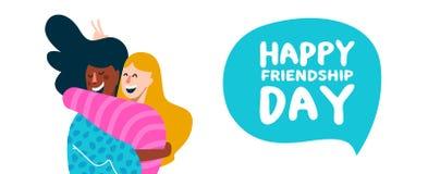 Happy friendship day banner of friend girls hug vector illustration