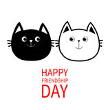Happy Friendship Day. Black White contour Cat head couple family icon. Cute funny cartoon character set. Greeting card. Kitty Whis Royalty Free Stock Photography