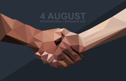 Happy friendship day card. 4 August. Best friends, two shaking hands symbol Stock Images