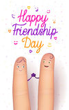 Happy friendship day card. Realistic finger people poster. Funny surprise, amazing greeting card for important occasion. Flat style vector illustration on Royalty Free Stock Images