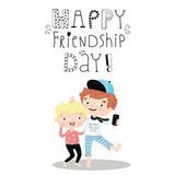 Happy Friendship Day. Happy Friendship Day card. Vector illustration with original text message Stock Photography