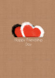 Happy friendship day concept, two hearts Royalty Free Stock Images