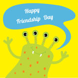 Happy Friendship Day Cute green monster with Royalty Free Stock Image