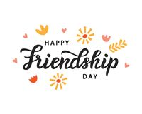Happy Friendship Day cute poster. Hand written brush lettering. Vintage retro style. Modern calligraphy design element for gift card template, banner, tee vector illustration