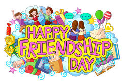 Happy Friendship Day doodle Stock Image