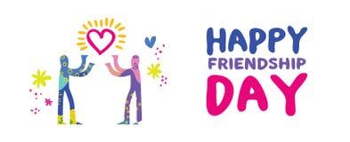 Happy friendship day friend love concept banner vector illustration