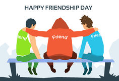 Happy Friendship Day Friends Together. Sit On Bench In Park Flat Vector Illustration Royalty Free Stock Photography