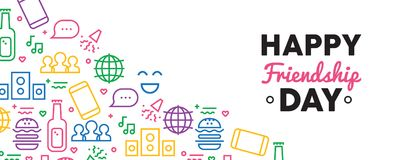 Happy Friendship day fun party icon web banner stock illustration