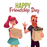 Happy friendship day greeting card Stock Image