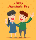 Happy Friendship day greeting card. Friends hugging and smiling. Royalty Free Stock Photography