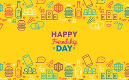 Happy friendship day greeting card with party icon royalty free illustration
