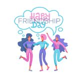 Happy friendship day greeting card. Tree girls hugging and smiling for friend celebration event. People hugging together vector illustration