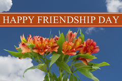 Happy Friendship Day greeting with a orange and yellow lilies bo. Uquet with a sky background stock images