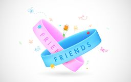 Happy Friendship Day Greetings. Illustration of friendship band on Happy Friendship Day Greetings Royalty Free Stock Images