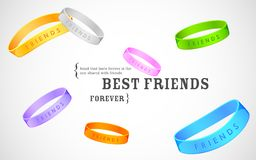 Happy Friendship Day Greetings. Illustration of friendship band on Happy Friendship Day Greetings Stock Photos