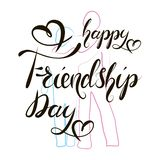 Happy Friendship day Hand Lettering Text vector illustration