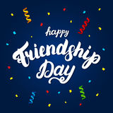 Happy friendship day hand written lettering for greeting card. Stock Photography