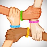 Happy Friendship Day. Illustration of hand of multiracial people wearing friendship band Royalty Free Stock Photo