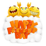 Happy friendship day invitation card with three emoji smiley faces Royalty Free Stock Image