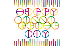 Happy Friendship Day Lettering. Happy Friendship Day color transition lettering in trend stock photography