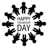 Happy Friendship Day. Man and woman pictogram icon sign. People round circle. Male Female silhouette. Black color. Boys girls hold Stock Photos