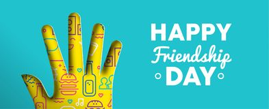 Happy Friendship Day paper cut hand shape banner vector illustration