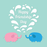 Happy Friendship Day Pink and blue elephants with Stock Image