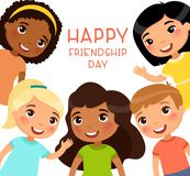 Happy Friendship Day poster with multicultural children. royalty free illustration