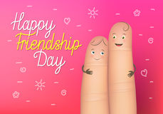 Happy friendship day poster. Realistic finger people card. Celebration card showing affection and bond between real friends. Flat style vector illustration on Stock Images