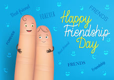 Happy friendship day poster. Realistic finger people card. Celebration card showing affection and bond between real friends. Flat style vector illustration on Royalty Free Stock Photos