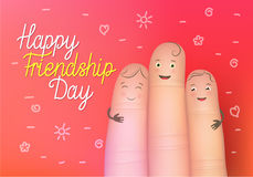 Happy friendship day poster. Realistic finger people card. Celebration card showing affection and bond between real friends. Flat style vector illustration on Royalty Free Stock Photography