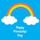 Happy Friendship Day Rainbow and white clouds in the sky. Dash line. Flat design Royalty Free Stock Photos