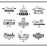 Happy Friendship Day Set Labels. Collection of monochrome labels with congratulation on white background. Happy Friendship Day. Vector illustration royalty free illustration