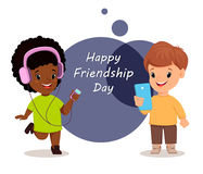 Happy Friendship day. Smiling girl and boy. Greeting card. Vector illustration Stock Images