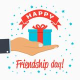 Happy Friendship day - template for greeting card, logo, poster, banner with gift-box in hand palm. Vector. Stock Images
