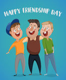 Happy friendship day. Three friends hug. Funny cartoon characters. Vector illustration royalty free illustration
