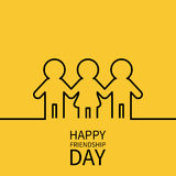 Happy Friendship Day. Two black man male and one woman female silhouette sign symbol. Boys girls holding hands line contour icon. Stock Image